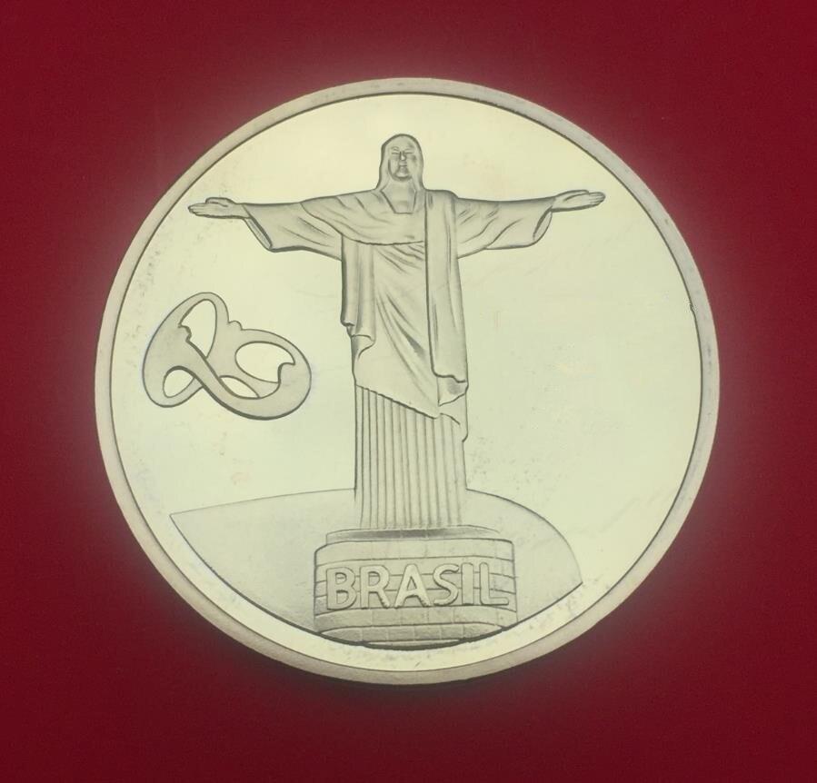 Jesus Christ Gold Plated Coin Brazil Sport Football Medal Souvenir