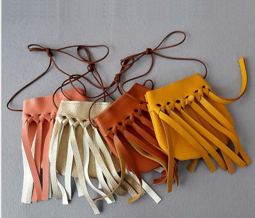 15 pieces Kids PU Fringe Crossbody Small Bags Girls Cute Messenger Bags Handmade Bohemian Tassel Children Mini Bag Coin Purse