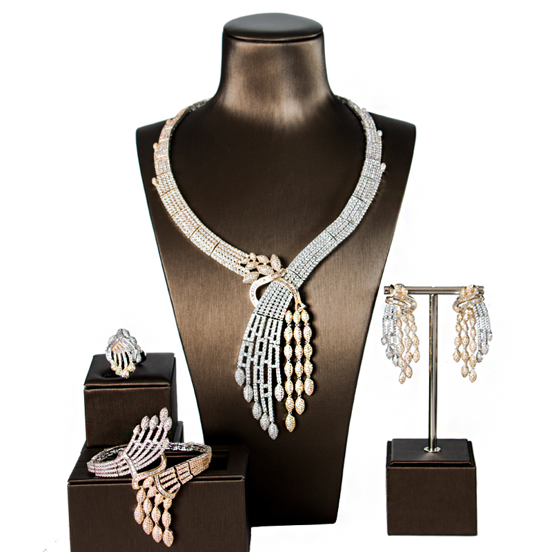 LAN PALACE new original desig copper alloy 5A cubic zirconia jewellery set earrings necklace ring bracelet free shipping