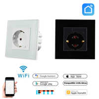 EU Standard Smart Plug Wifi Wall Socket Tuya Smart Life Control,Alexa,Google home,Google Nest,IFTTT,and Apple Siri Voice control