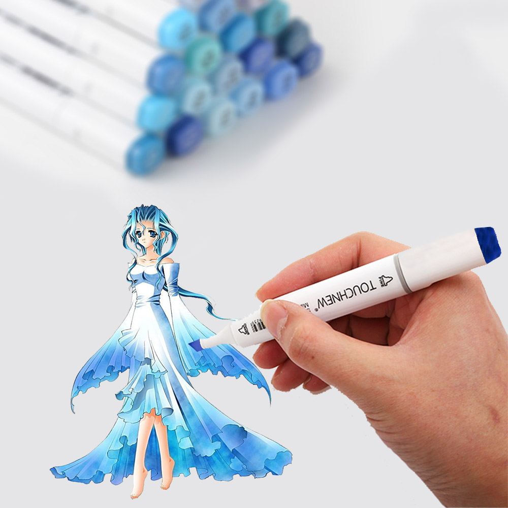 Touchnew 24 20 Warna Kulit Marker Biru Set Sketsa Alkohol Spidol Pena Untuk Menggambar Potret Animasi Warna Biru Laut Spidol Berwarna Aliexpress
