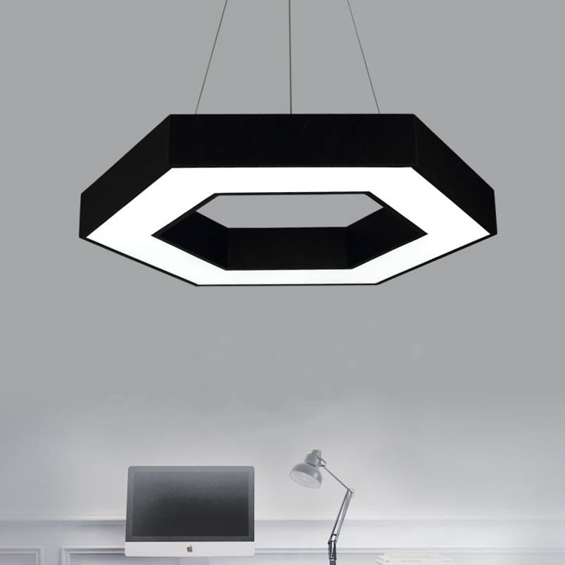 24W Office chandelier led modern creative personalized geometry restaurant living room cafe dining room hexagonal pendant lamp