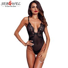 SEBOWEL 2019 Summer Sexy Black Lace Bodysuit Women Triangular Sheer Scalloped Jumpsuit Rompers Ladies macacao feminino