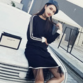 spring knitted dress women lace kintted full sleeve dresses female pullover party dresses  fashion dress