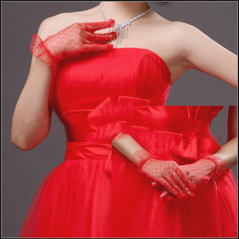 Kurze Braut Hochzeit Handschuhe Beige Kurze Design Spitze Gaze Transparent Frauen Handschuhe Hochzeit Handschuhe Hochzeit Zubehör
