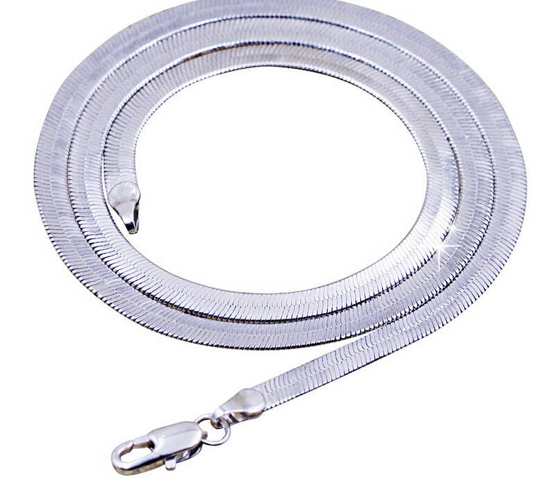 Anenjery 925 sterling silver naszyjnik Unisex płaskie wąż Link Chain karabińczyk collares naszyjniki dla kobiet mężczyzn S-N21