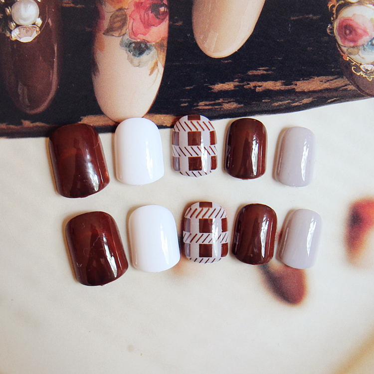 Simple 24PCS/set Fine Line Finished Fake Nails Wine Red Applicable ...