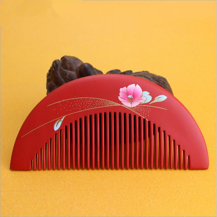 2017 Hot Sale New Arrival Red 12cm Peach Wood Handmade Comb Hair Combs Makeup Head Massager