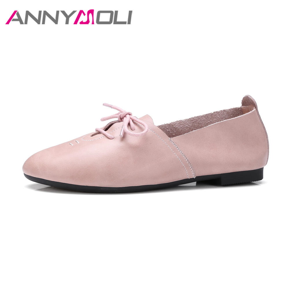 ANNYMOLI Genuine Leather Shoes Women Flats Round Toe Lace Up Shoes Casual Sweet Women's Flat Shoes Soft Autumn Flats Female Pink 2016 new fashion women flats women genuine leather flat shoes female round toe casual work shoes women shoes