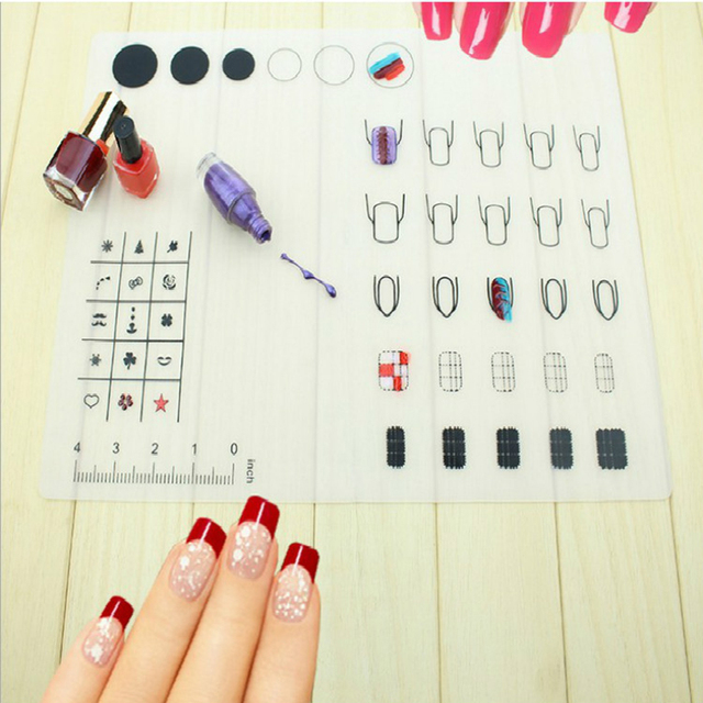 2017 Newest 1pcs Silicone Nail Art Exercise Table Mat Painting ...