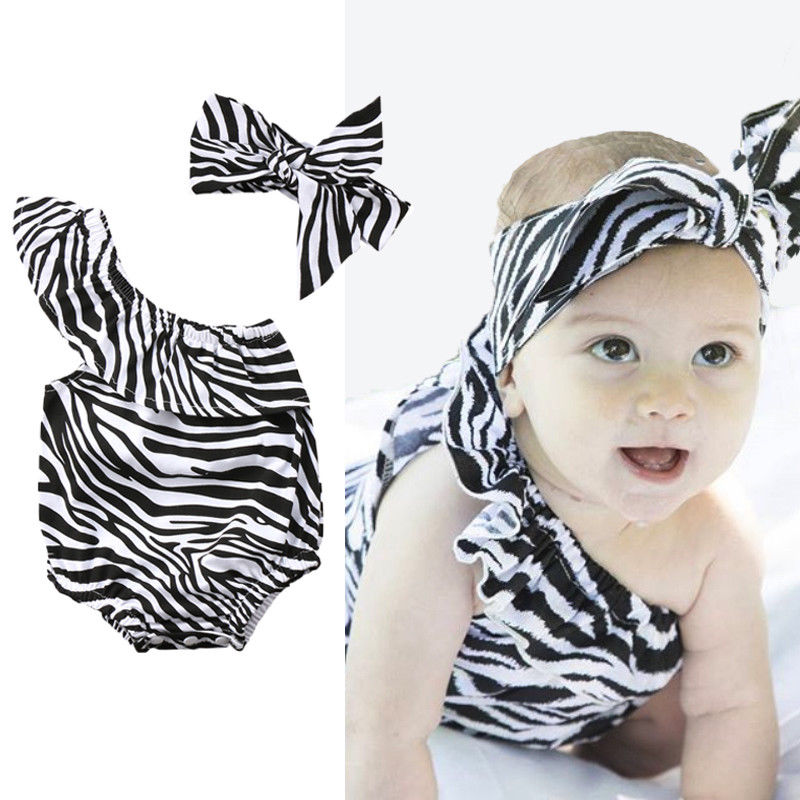 2PCS Newbron Baby Girl Zebra Cotton Off Shoulder Romper Jumpsuit Outfits Clothes