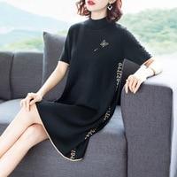 Black letter elastic knit half turtleneck wool sweater dress 2018 new short sleeve women autumn mini dress