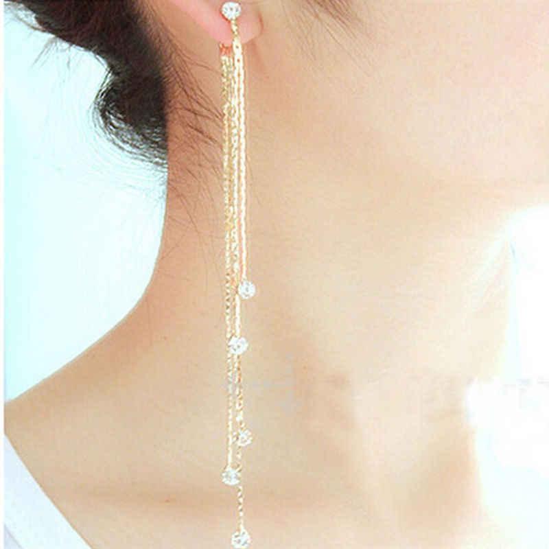 Phantasie Anmutige Frauen Abend Schmuck Voller Kristall quaste ohrring Gefüllt Lange Tropfen Ohrringe schmuck Für Frauen