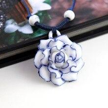 Joyería Étnica china Manual de la Armadura Hecha A Mano de Cera Cuerda Collar de Gargantilla Colgantes de Cerámica Granos de la Flor de porcelana Azul y blanca