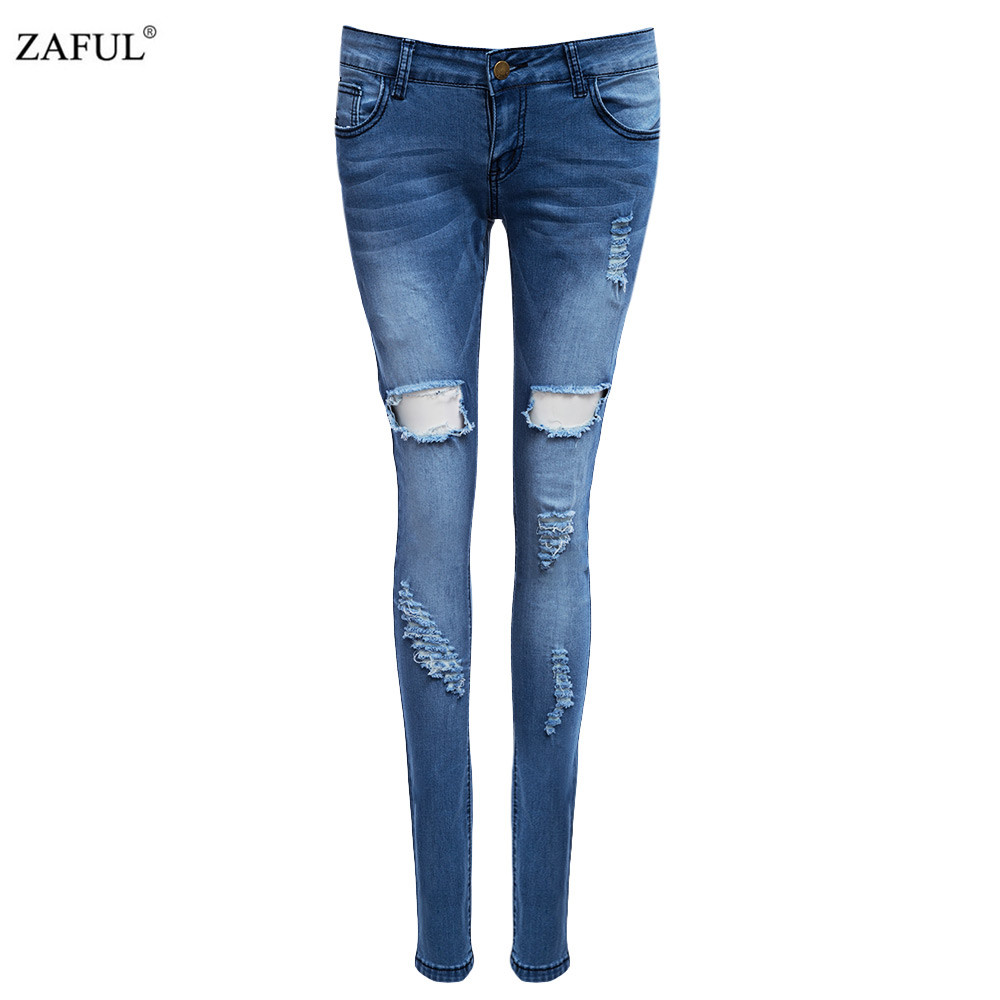 ZAFUL High Quality New Autumn hole Jeans pencil Women slim ...