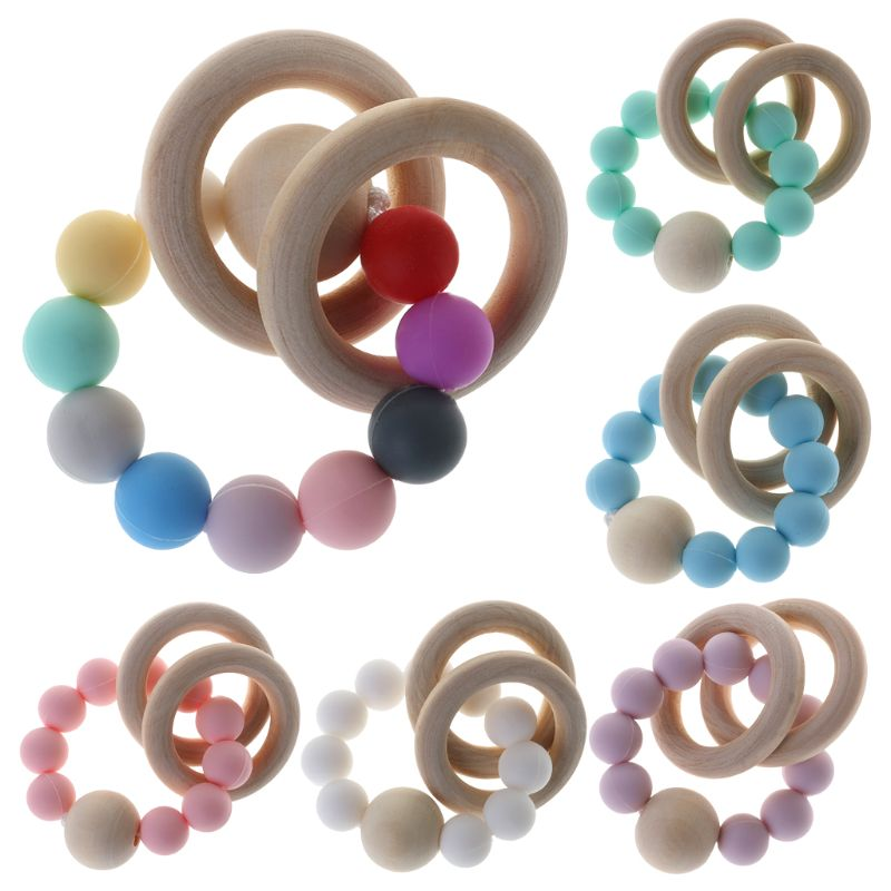 1PC Baby Teether Bracelet Teething Toys Chew Bite Newborn Teeth Care Beads Pain Relief Silicone Wood Rings Infant Supplies