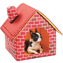 Portable Brick Pet House With Chimney Warm And Cozy Dog Cat Bed Detachable Washable Pet Tent Suitable For All Seasons Cushion(China)