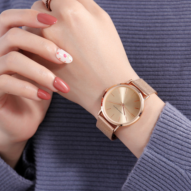 Top Brand Luxury HM Stainless Steel Mesh Wristwatch Japan Quartz Movement Sk Rose Gold Designer Elegant Style Watch For Women