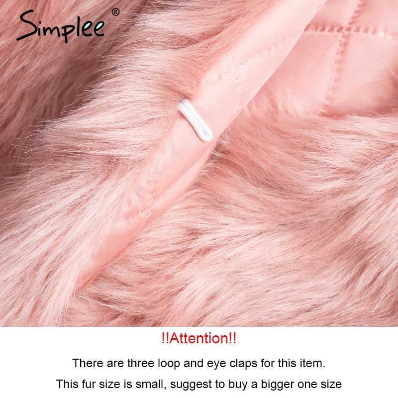 Женская розовая шуба Simplee, теплая шуба из искусственного кроличьего меха, шикарное пушистое женское пальто на осень и зиму