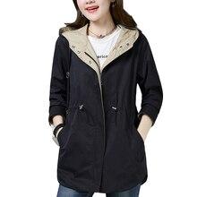 Spring Autumn Women Windbreaker Long 2019 New Hooded Jacket Plus Size Fashion Ca