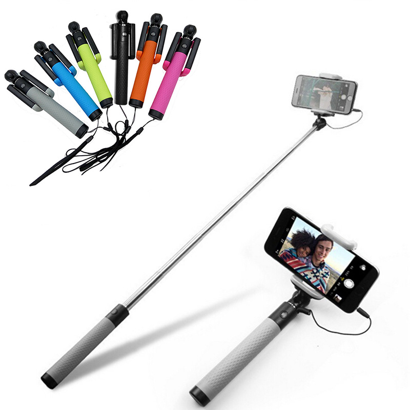 Venta caliente 185mm-820mm con cable Mini Portátil Selfie Stick Monopod Extensible Para Iphone 6 6S 6PLUS Samsung Xiaomi Android Teléfonos