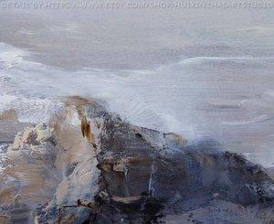 Image 4 - 特大の壁アート抽象絵画現代アートブルー油絵大キャンバスの芸術の絵画キャンバス風景画