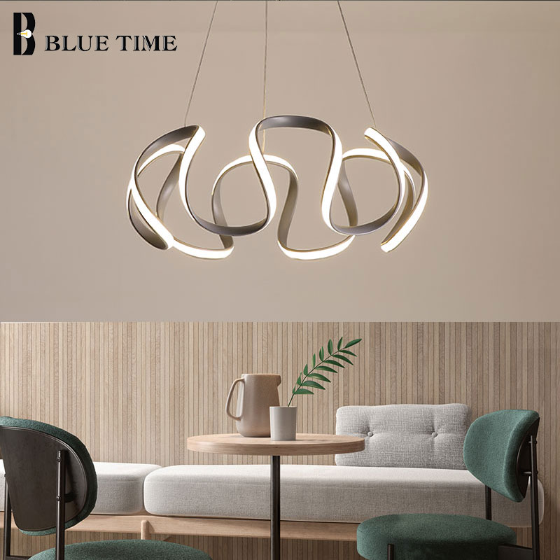Gray Finished Modern Hanging Lamps LED Pendant Lights For Living Room Dining Room Bedroom PVC Lampshade Home LED Pendant Lamps