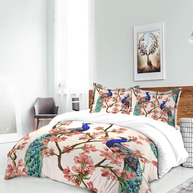Peacock / Phoenix Duvet Cover Set Full Twin Queen Chinese style quilt cover with pillowcase birthday present bedding set new