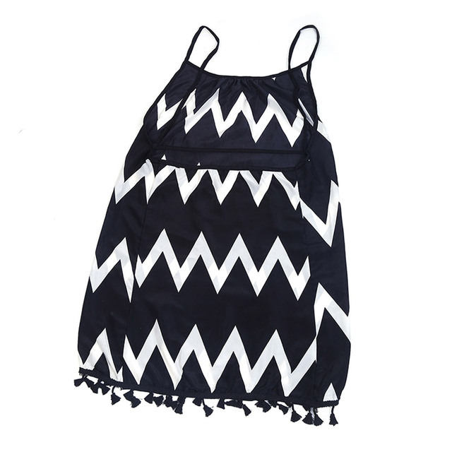 Black White Chiffon Backless Mid Dress with Tassel Hem  4