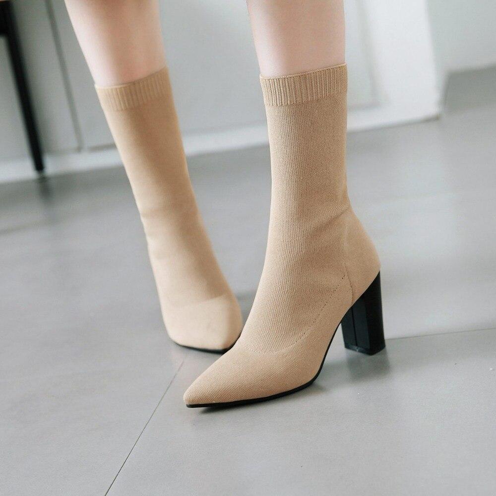 S Romance 2018 Women Boots Plus Size 34 43 High Square Heels Ladies Pumps Rubber Female