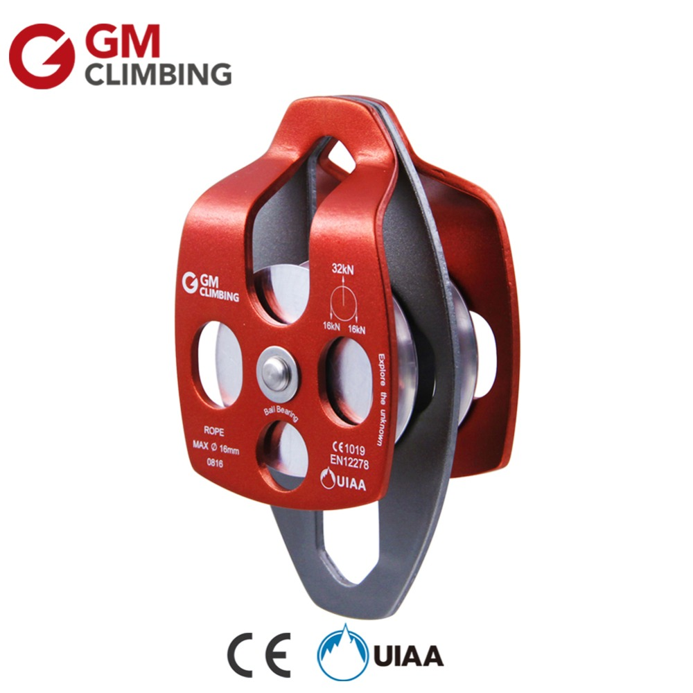 32kN Pulley Climbing Rope Pulley CE / UIAA Large Double Sheave Rescue Pulley Hauling Mountaineering Equipment