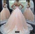 Moda vestido de Baile Estilo Lace Appliqued Corset Corpete prom dress Plus Size Mulheres prom Vestidos formais 2016