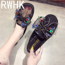RWHK 2019 new mesh baotou half slippers female summer Korean fashion casual shoes bow rhinestone slippers B153