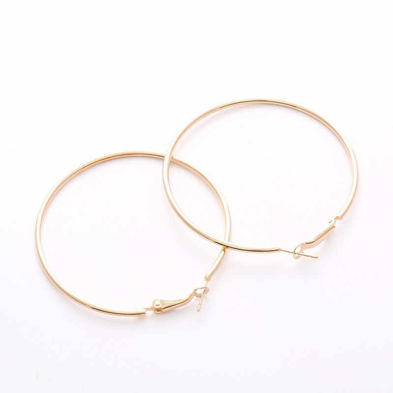 Fashion Emas Warna Perak Round Hoop [Anting-Anting untuk Wanita Besar Geometris Lingkaran Telinga Perhiasan Wanita Aksesoris Grosir