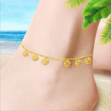 women pure yellow Anklets fashion coin designer lucky Anklets 1.7g