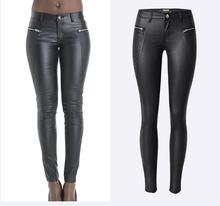 Women's Sexy Faux Leather Stretch Skinny Pants Lady Black coated Low waist PU Jeans Trousers