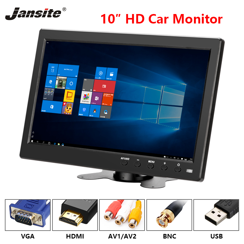 Jansite 10 inch Car monitor Computer monitor Reverse Image Flip 2 Channel Input Security Monitor With