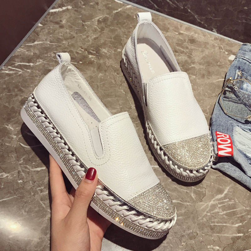 2019 Famous brand European patchwork Espadrilles Shoes Woman genuine leather creepers flats ladies loafers white leather loafers(China)