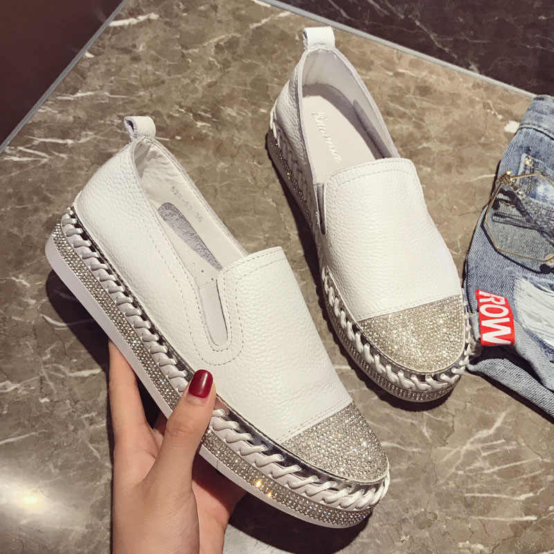 2019 Famous brand European patchwork Espadrilles Shoes Woman genuine leather creepers flats ladies loafers white leather loafers
