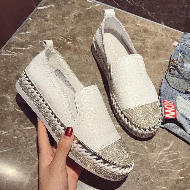 2019 thương hiệu Nổi Tiếng Châu Âu chắp vá Espadrilles Giày Người Phụ Nữ chính hãng, dây leo da flats ladies giày đế trắng đôi giày lười da