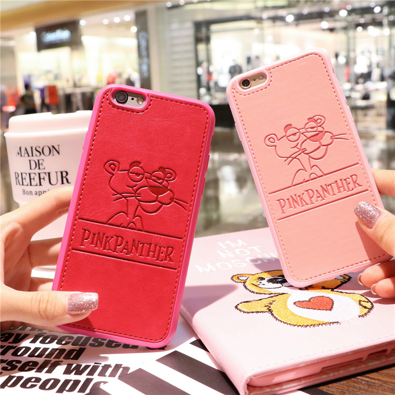PU Leather Cartoon Panther Cases For iPhone 7 6 6s Plus Soft Pink Panther Hard Shell Cover for iPhone 7 7Plus Cqoue Fundas