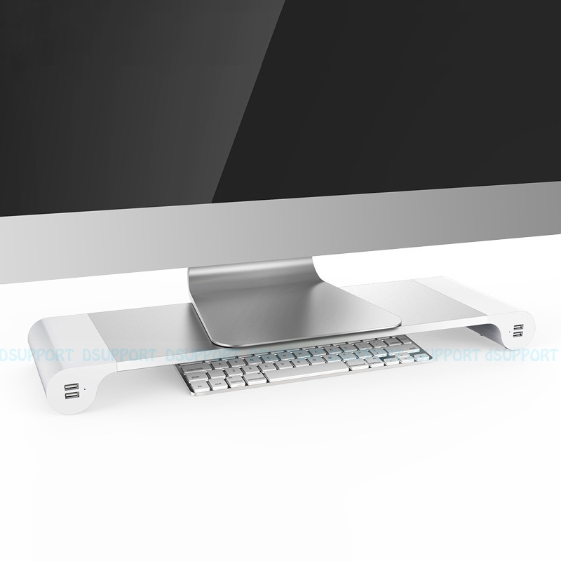 Free Shipping Dsupport Desktop Monitor Stand Space Bar Laptop Stand Riser with 4 ports USB charging