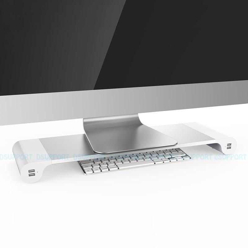 Livraison gratuite Dsupport moniteur de bureau support de barre d'espace support d'ordinateur portable Riser avec 4 ports USB de charge pour iMac, MacBook Pro, Air