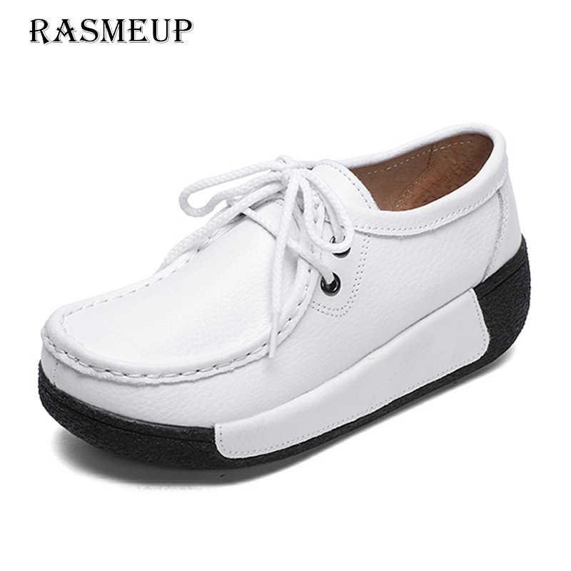 RASMEUP zapatos de plataforma de mujer de cuero genuino 2018 de moda de  encaje hasta cuñas c98613f8623