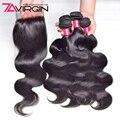 7А Перуанский Девственные Волосы С Закрытием 3 Пучки Несравненный Перуанский Объемная Волна С Закрытием Ткет Человеческих Волос Пучки С Закрытием