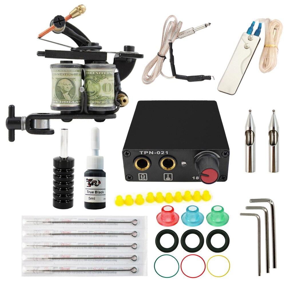 Tatouage ensemble Équipement Complet Machine 1 Pistolet de tatouage kit D'alimentation Cordon Kit Corps rotatif