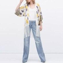 Style School Women Stylish Kimono Blouses Batwing Sleeve Loose Blouse Comfy Cardigan Shirt Tassel Printed Kimono Shirts  CH8188