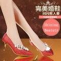 Elegant Ladies Beaded Flowers Stilettos Pointed Toe Metal High Heel 7cm Shoes Women Bling Crystal Luxury Wedding Party Pump Shoe
