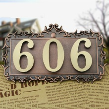 3 Digits New classical European Style Pure copper house number card Villa apartment number four digits Free Shipping