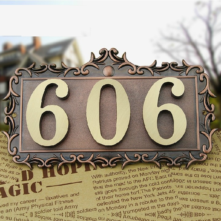 3 Digits New classical European Style Pure copper house number card Villa apartment number four digits Free Shipping 3 digits new classical european style pure copper house number card villa apartment number four digits free shipping